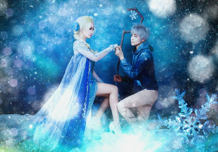 Jack frost and elsa cosplay